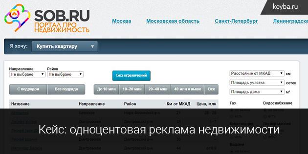 Zagorod.sob - контекстная реклама продажи земельных участков